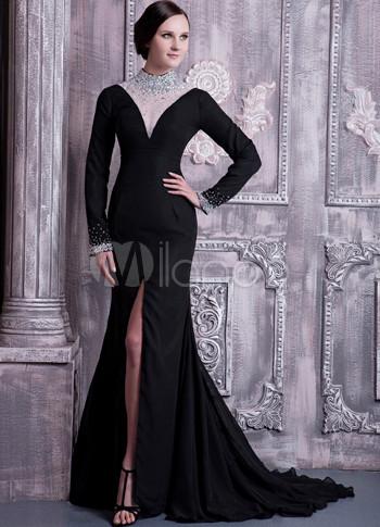 Long Sleeve Black Dress on Black Chiffon Long Sleeves Front Splitting Prom Dress   Milanoo Com