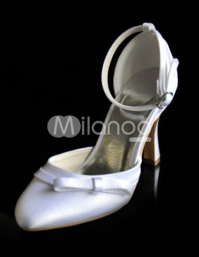 Ankle Strap Wedding Shoes on Red 3 1 2   Heel Ankle Strap Ribbon Satin Wedding Shoes   Milanoo Com
