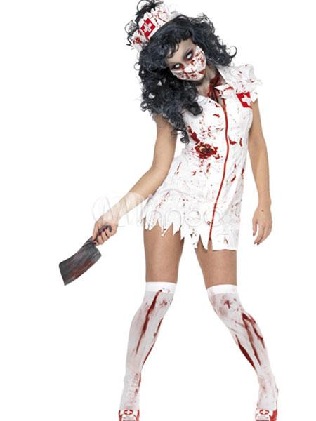 Zombie Nurse Satin Scary Halloween Costume