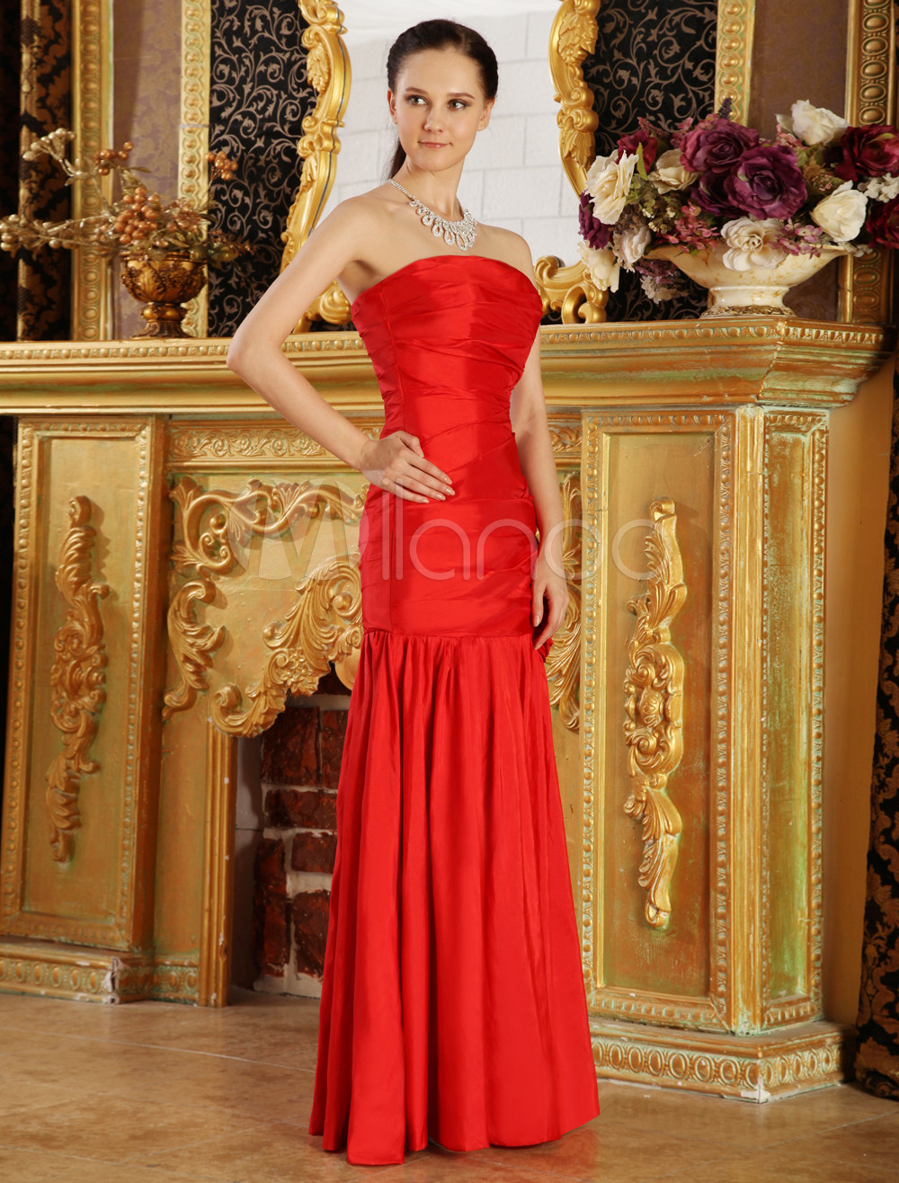 Slim Red Taffeta Strapless Mermaid Trumpet Flower Decoration Prom Dress
