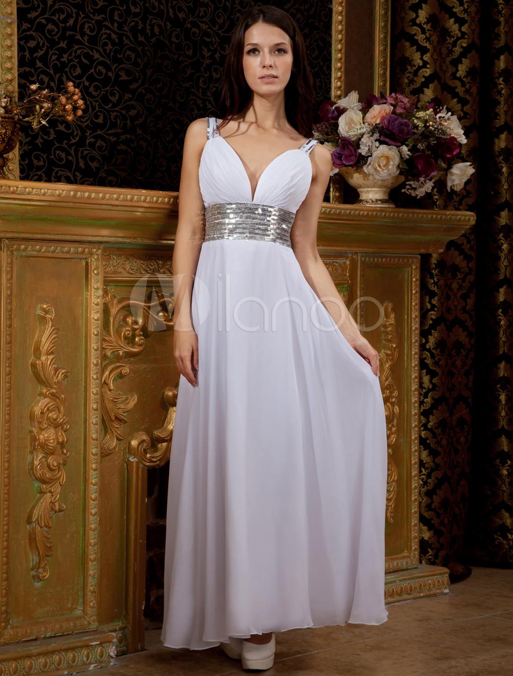 White Deep V-Neck Satin Chiffon Prom Maxi Dress