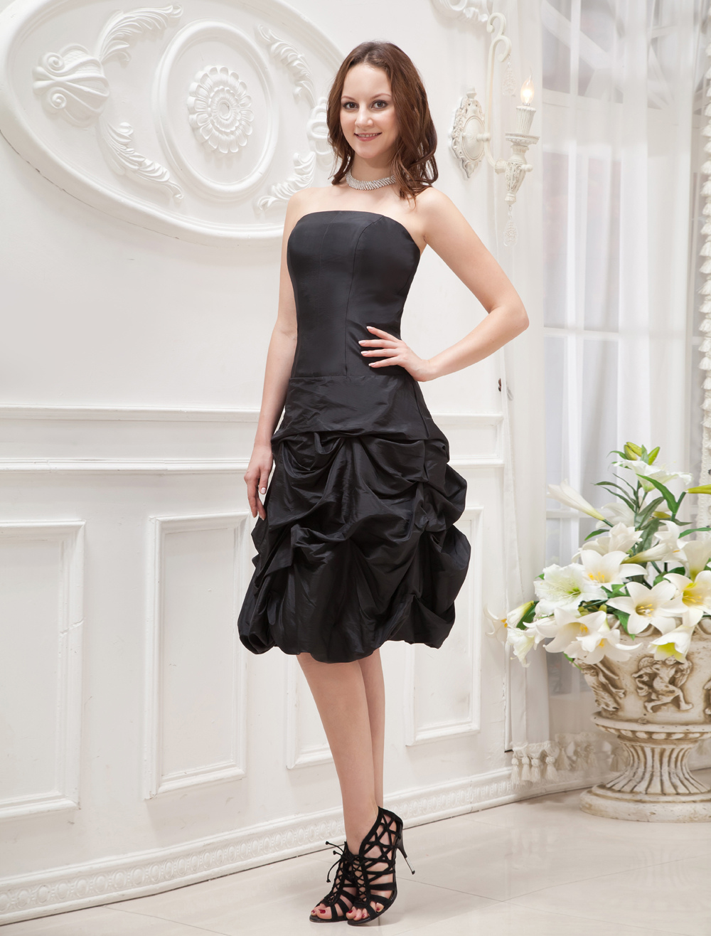 Black Elegant Strapless Ruched Taffeta Prom Dress