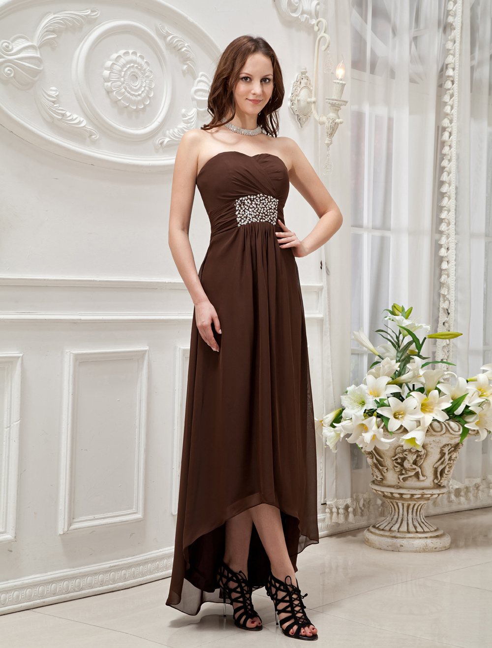 Chocolate Empire Waist Tulle Long in Back Short in Front Prom Dress (Wedding Cheap Party Dress) photo