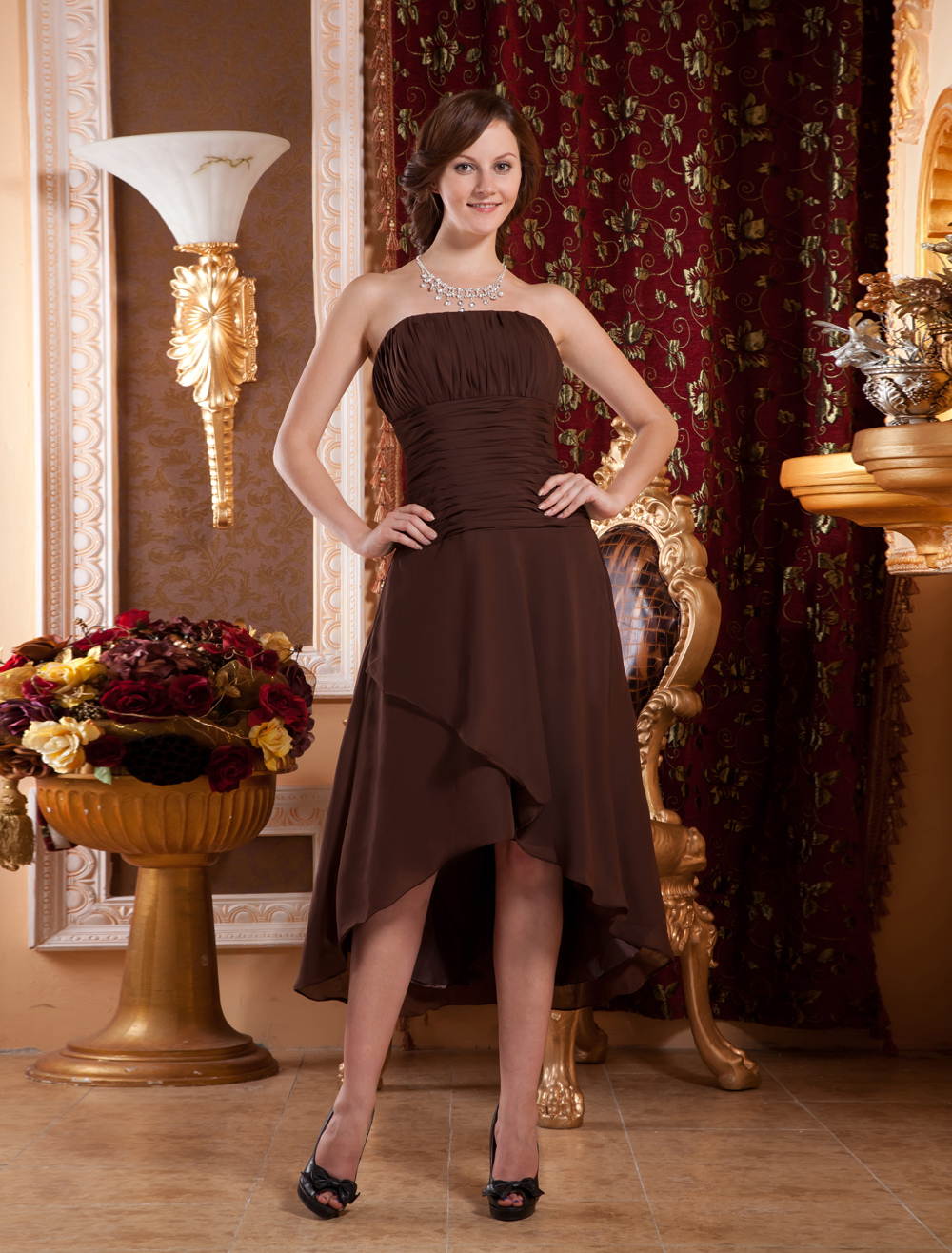Attractive Strapless Chiffon Prom Homecoming Dress