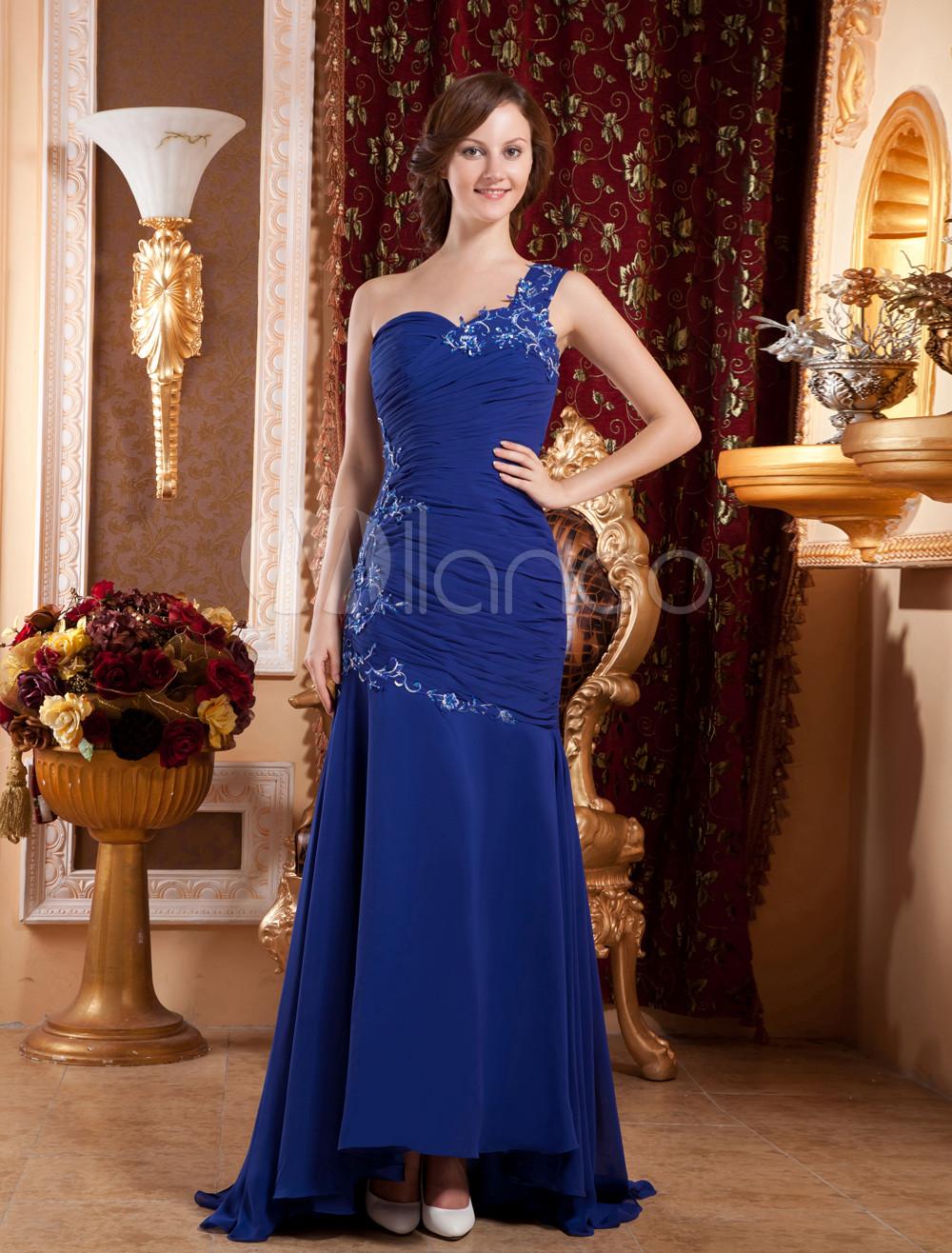 Elegant Royal Blue Chiffon One Shoulder A-line Prom Dress