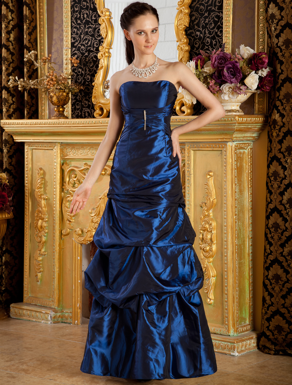 Royal Blue Strapless Toggle Taffeta Evening Dress (Wedding Evening Dresses) photo