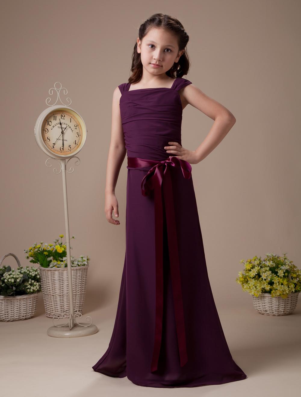62d462fc700 Purple Pleated Sash Satin Chiffon Flower Girl Dress (Wedding) photo