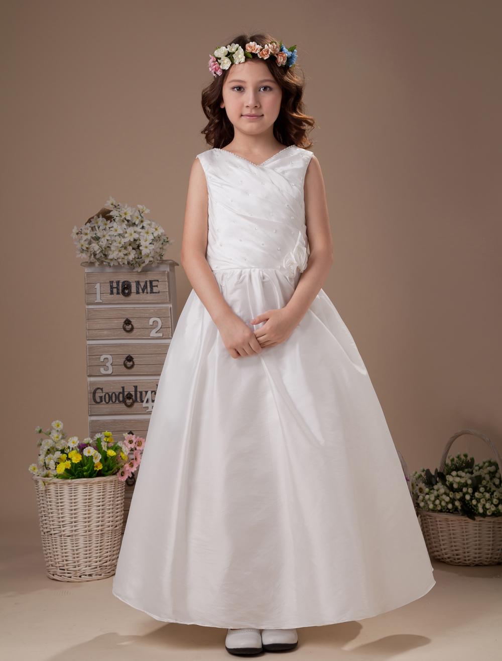 Cute A-line V-Neck Ankle-Length Taffeta Flower Girl Dress