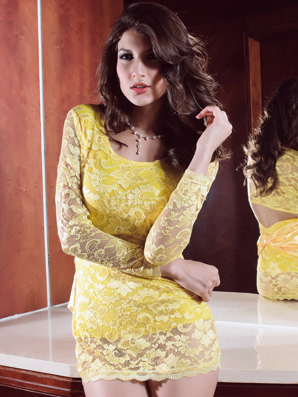 Gorgeous Sexy Yellow Lace Womens Sexy Dress