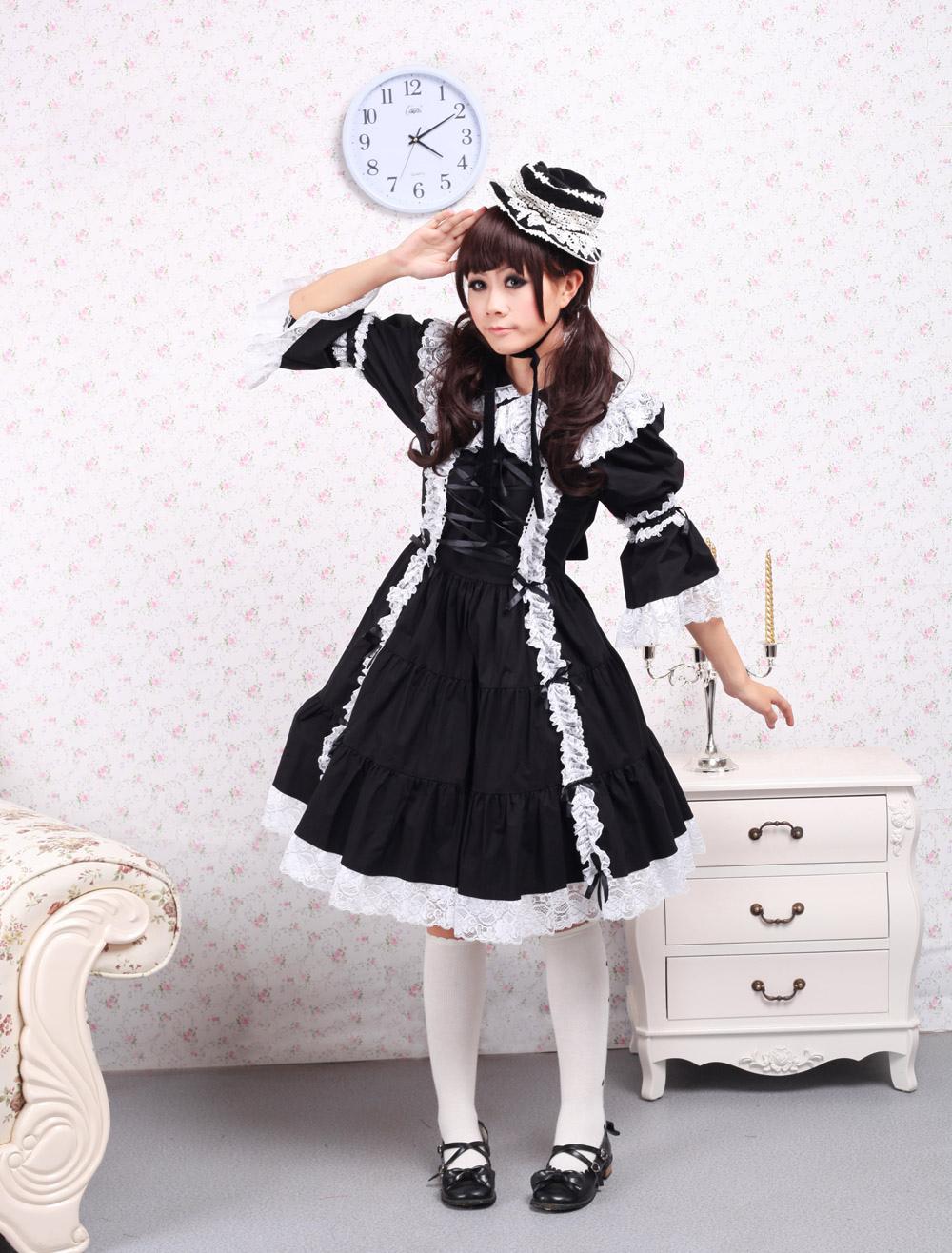 Cotton Black Long Sleeves Classic Lolita Dress (Costumes) photo