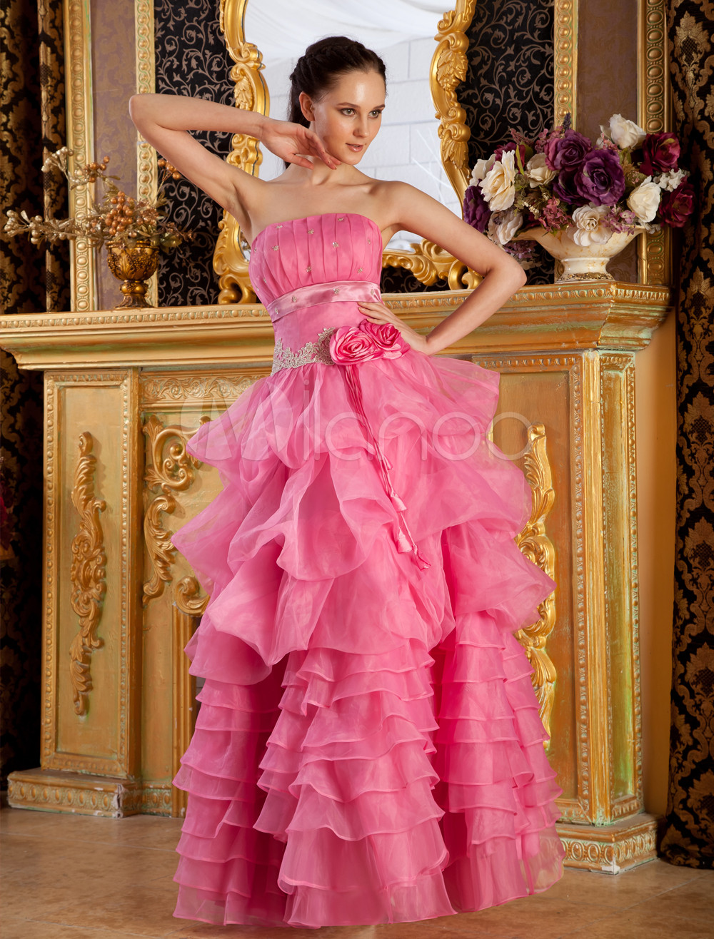 Strapless Tiered Organza Woman's Prom Dress (Wedding Prom Dresses) photo