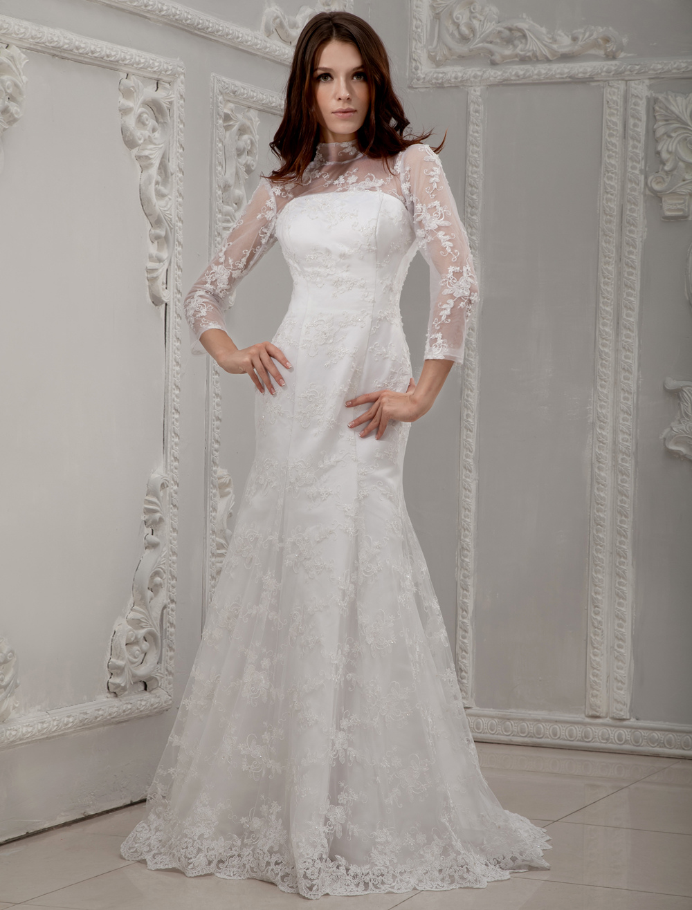 White Long Lace Sleeves Bridal Wedding Dress