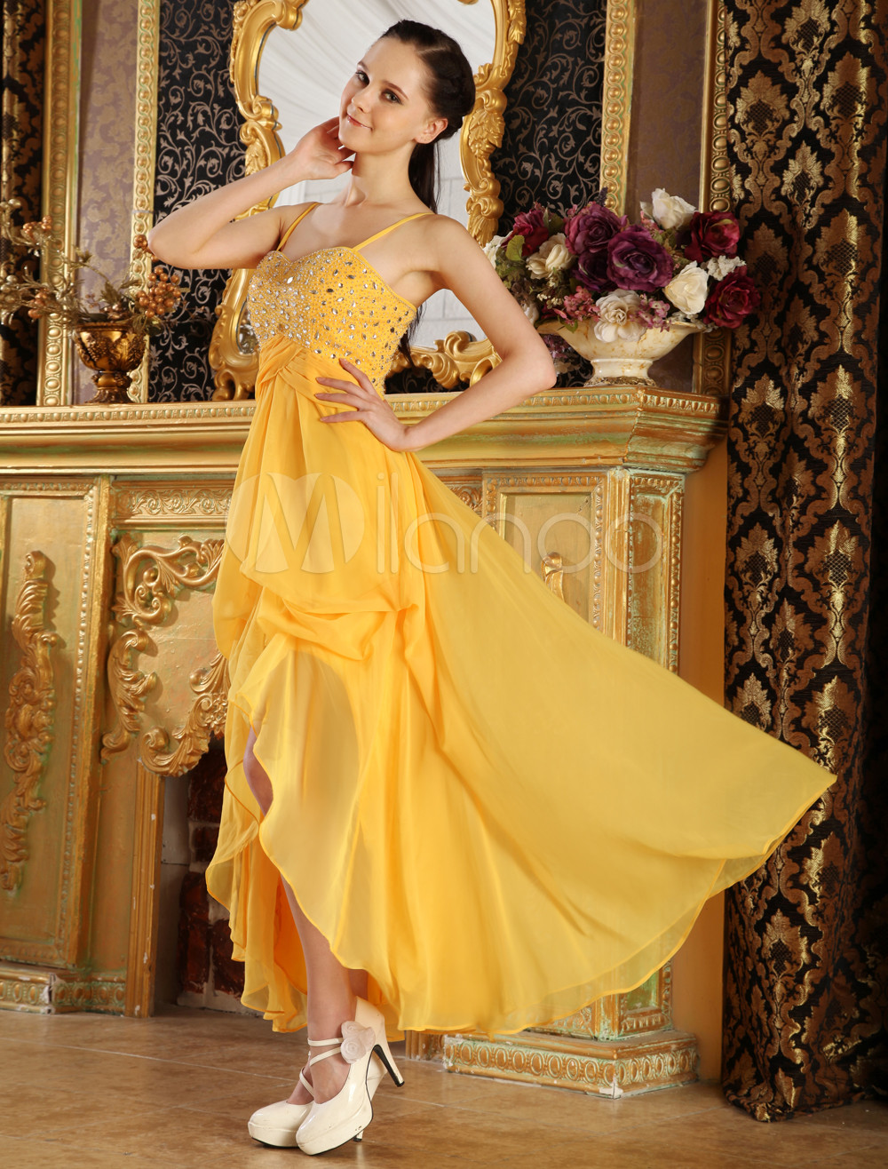Yellow Spaghetti Tiered Chiffon Woman's Prom Dress