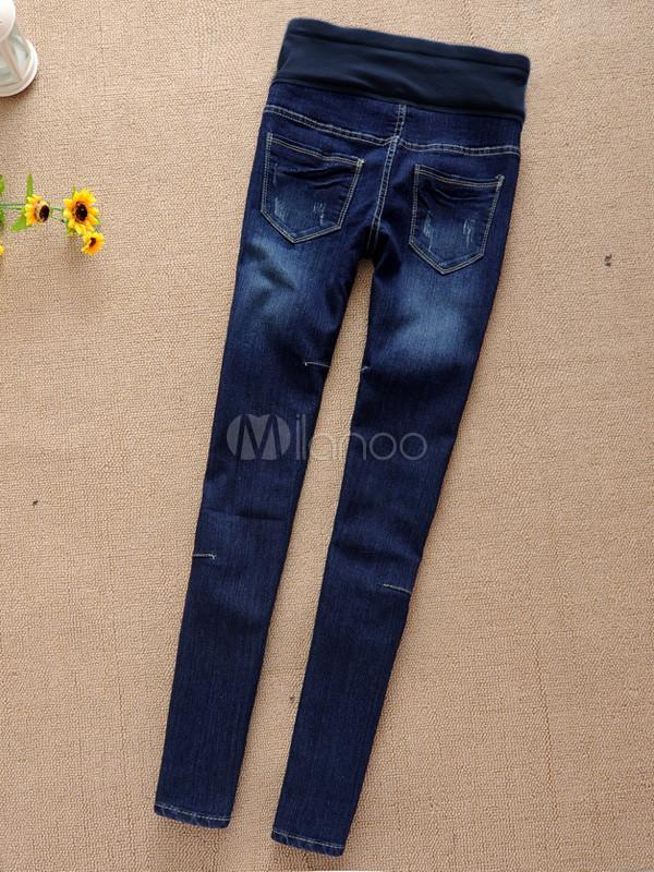 casual-blue-denim-maternity-jeans