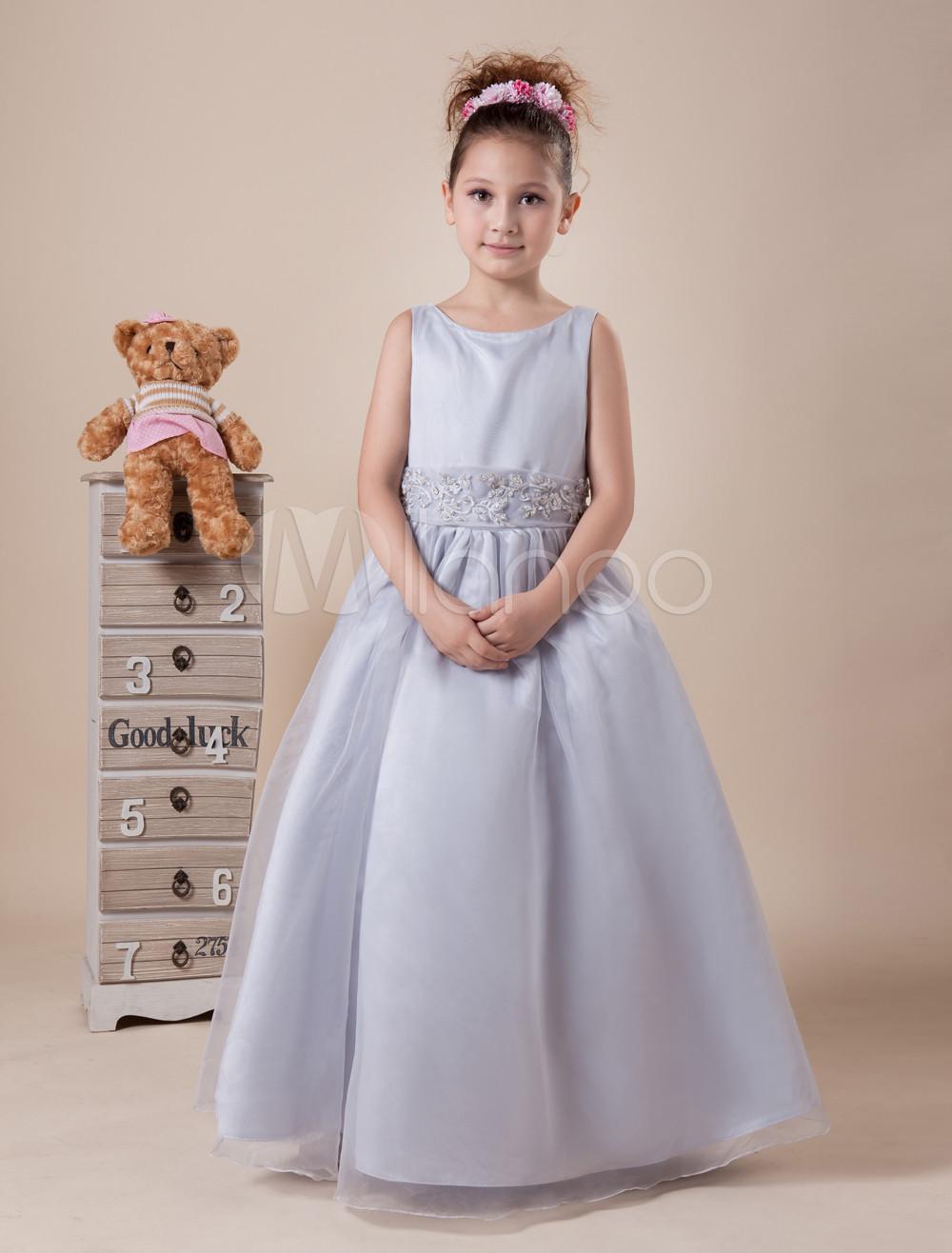 Short Sleeves Bowknot Satin Organza Flower Girl Dress