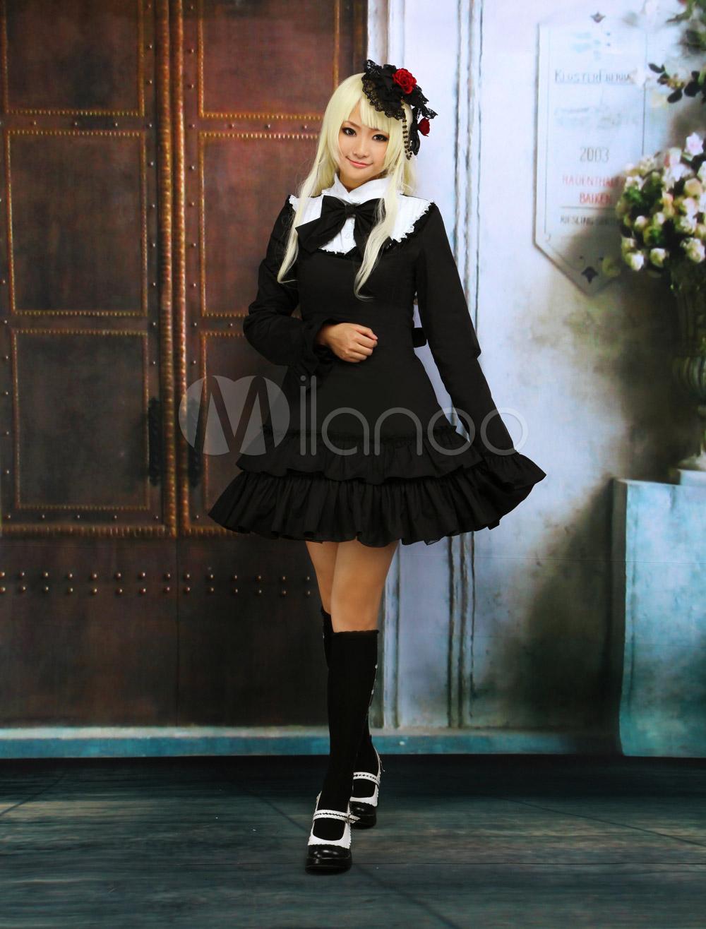 Black Cotton Long Sleeves Ruffle Classic School Lolita Dress