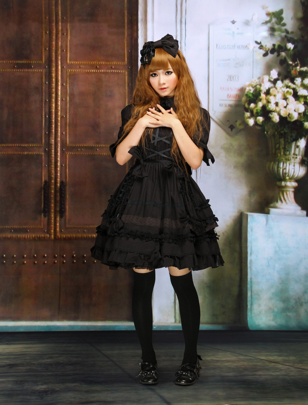 Black Turndown Collar Ruffle Cotton Gothic Lolita Dress