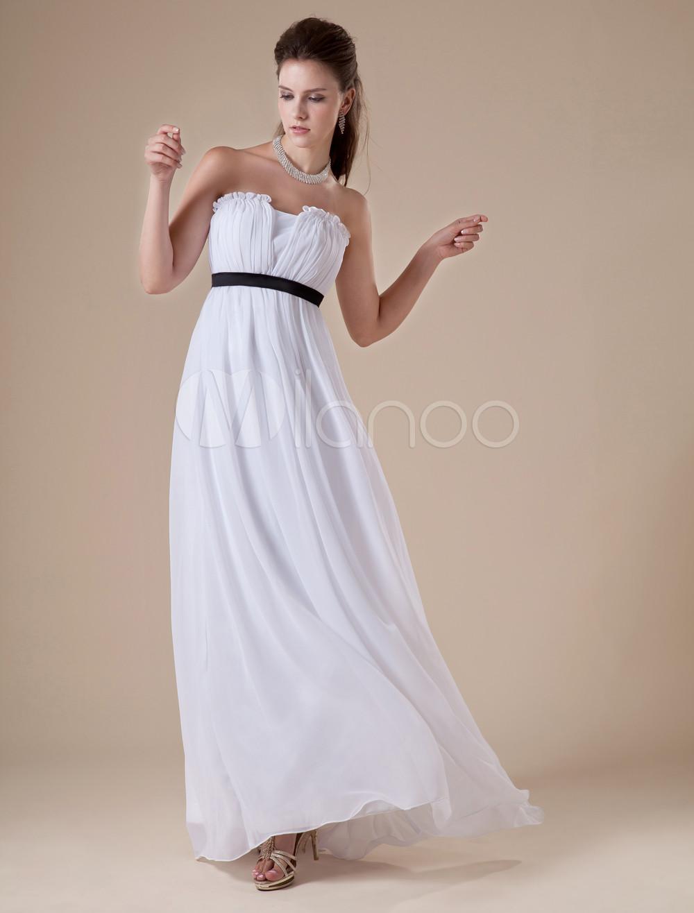 Elegent White Chiffon Black Sash Floor Length Womens Evening Dress