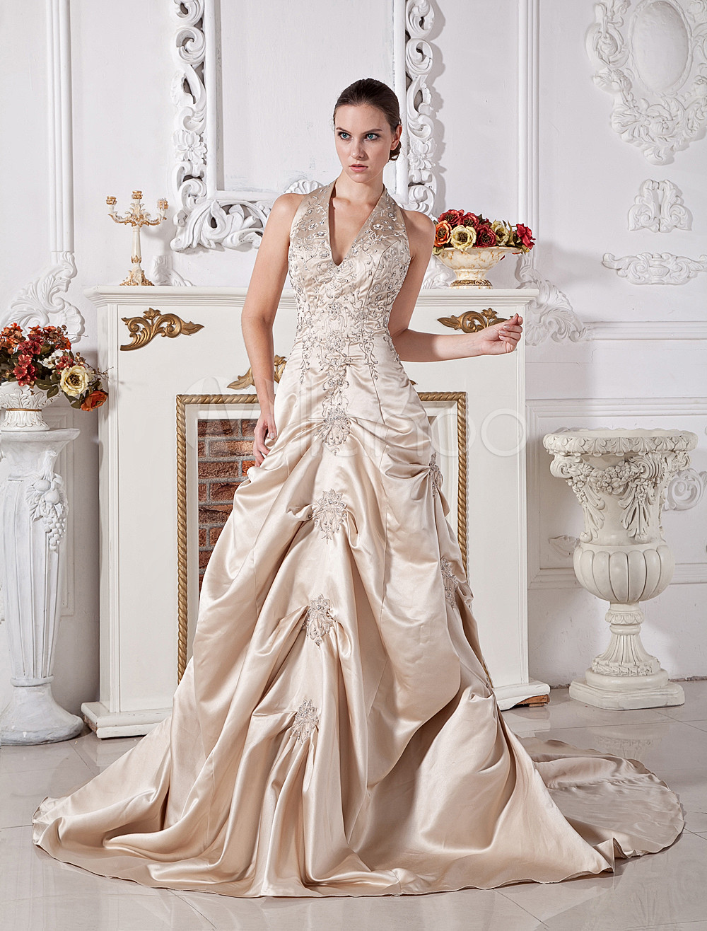 Ball Gown Halter V-Neck Beaded Applique Satin Wedding Dress