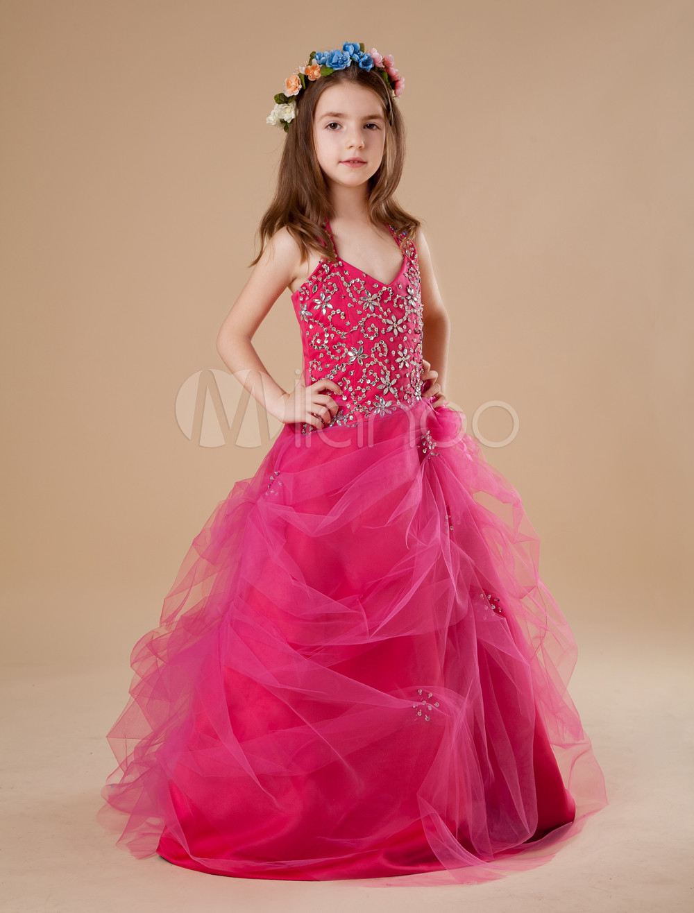 Toddler S Pageant Dress Hot Pink Tulle Halter Rhinestone
