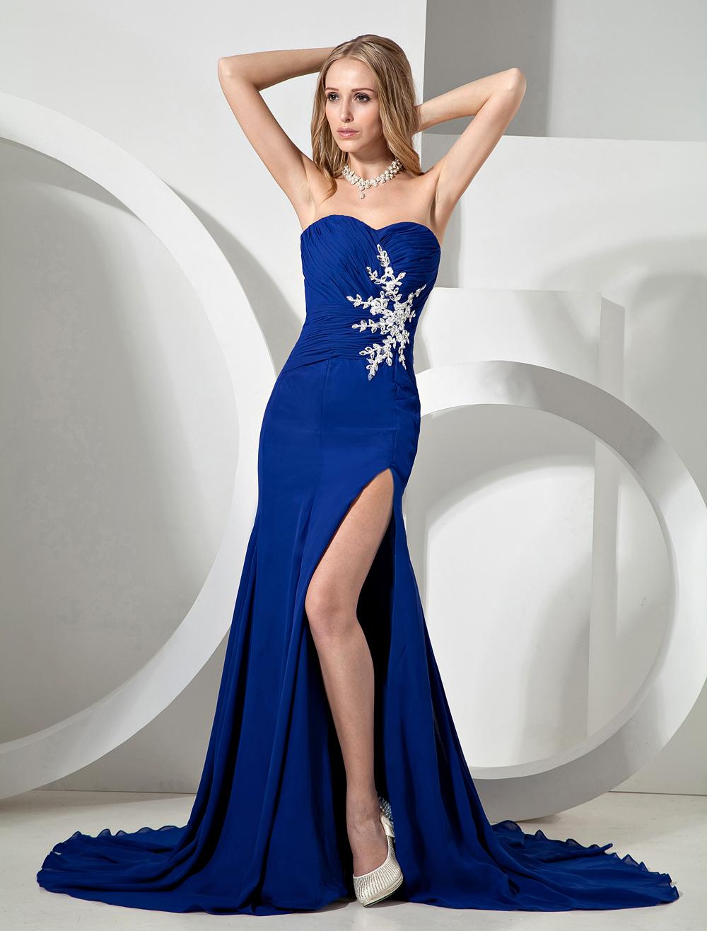 Royal Blue Splitting Strapless Chiffon Prom Dress (Wedding Prom Dresses) photo