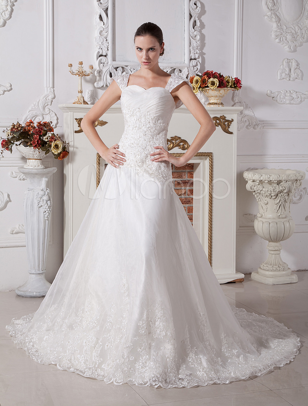 White A-line Sweetheart Cap Sleeves Lace Satin Wedding Dress photo