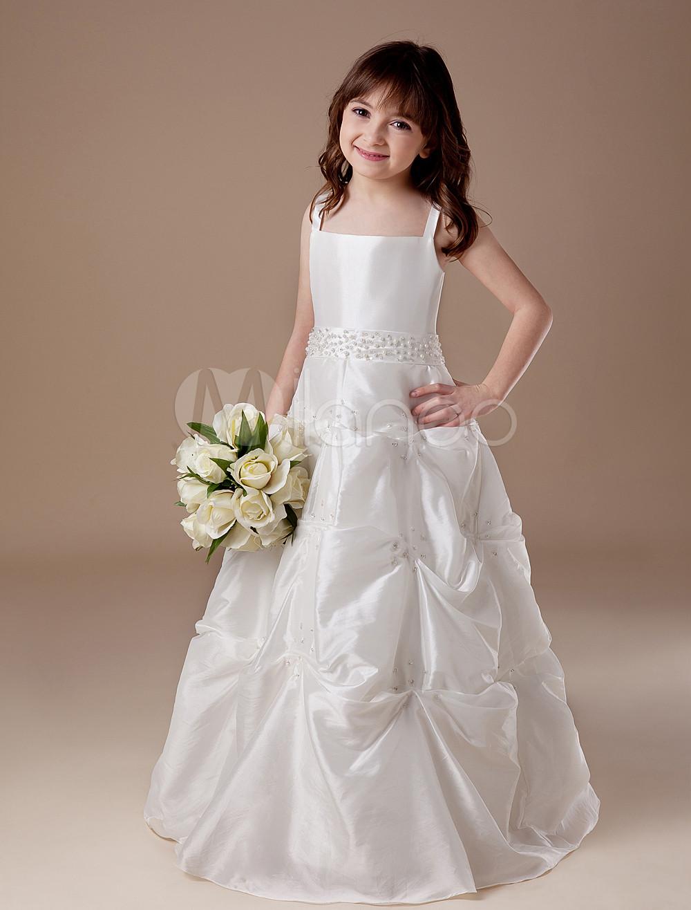 White Sleeveless Ball Gown Taffeta Flower Girl Dress (Wedding Flower Girl Dresses) photo
