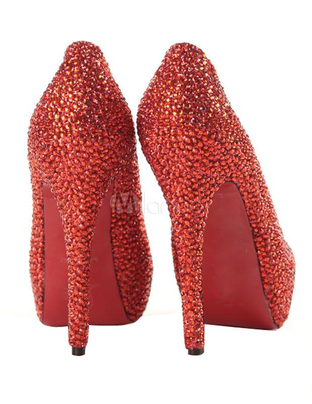 Red Rhinestone Beading Sheepskin High Heel Red Bottom Shoes.