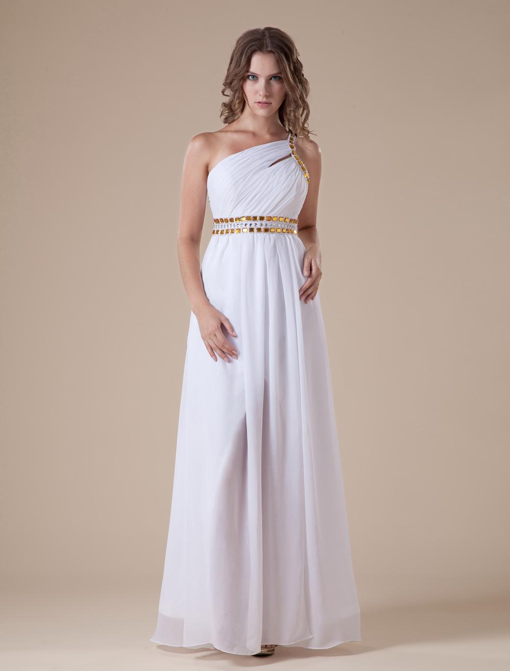 White Chiffon Satin One Shoulder Evening Dress With Front Slit (Wedding Evening Dresses) photo