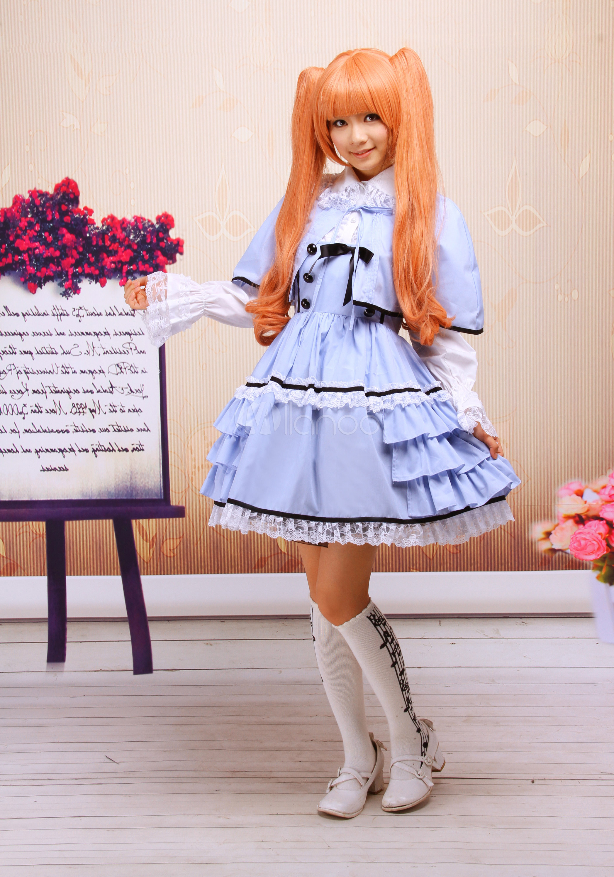 Blue White Cotton Long Sleeves Ruffled Cape Lolita Outfit