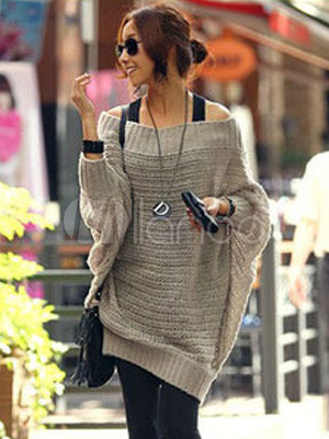 Popular Woolen Blend Batwing Sleeve Women's Sweater Dress
