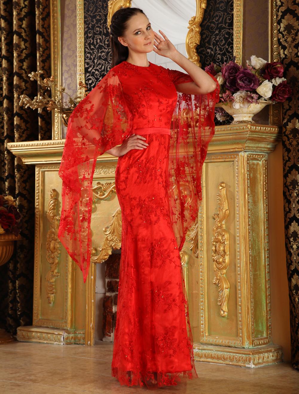 Floor Length Lace Evening Dress (Wedding Evening Dresses) photo