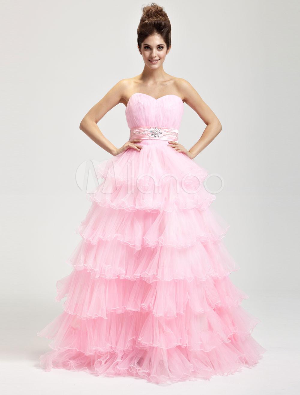 Pink Hard Yarn Floor Length Masquerade Ball Gowns