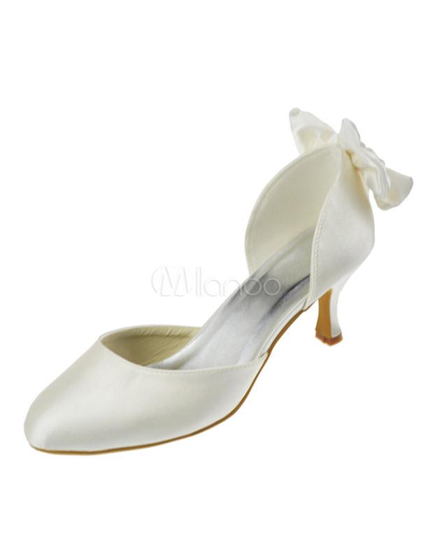 "Beautiful Champagne 2 2/5"" Heel Satin Wedding Shoes"