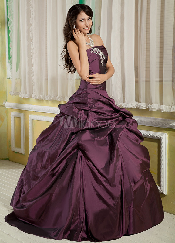 Grape Purple Strapless Floor Length Taffeta Prom Dress
