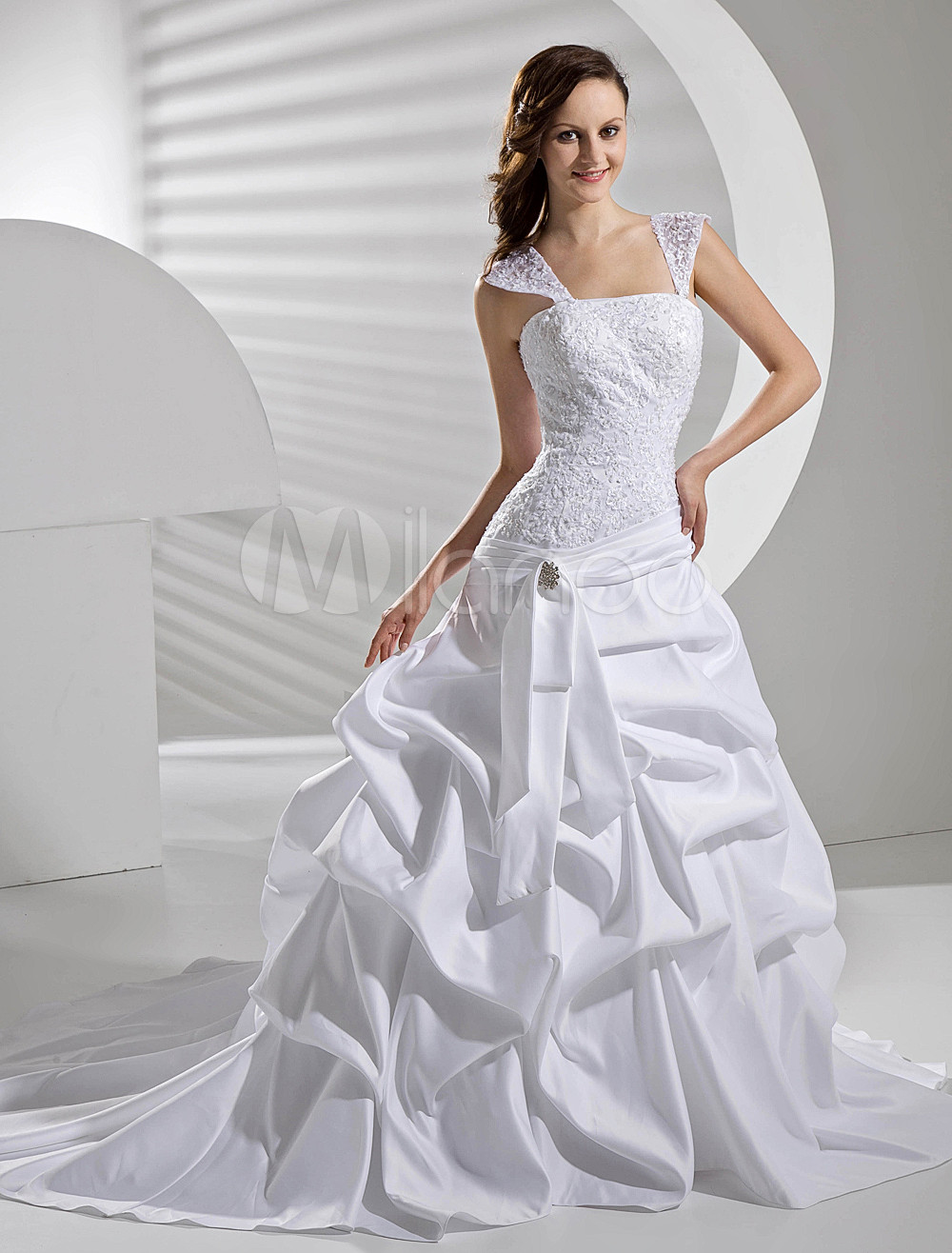 Ball Gown Lace Satin Draped Wedding Dress