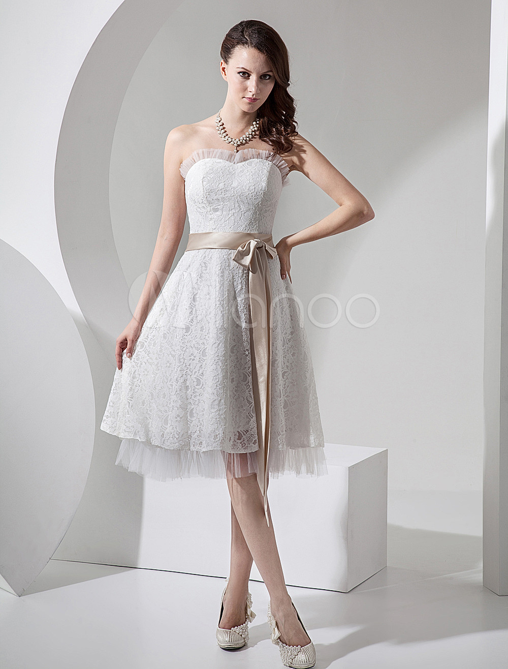 ivory lace champagne sash mini wedding dress p mini wedding dress