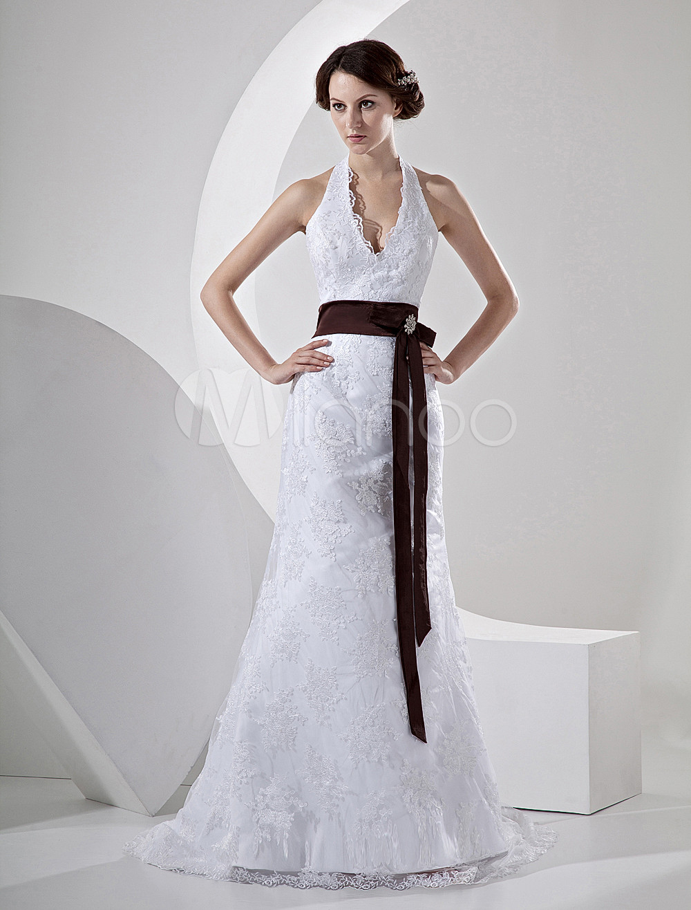 Mermaid V Neck Halter Sash Lace Satin Wedding Dress