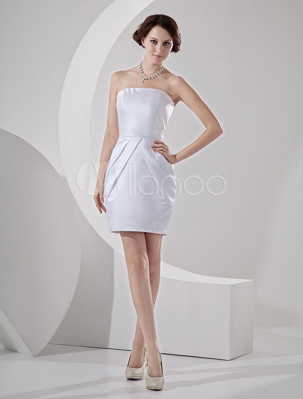 romantic strapless satin mini wedding dress p mini wedding dress