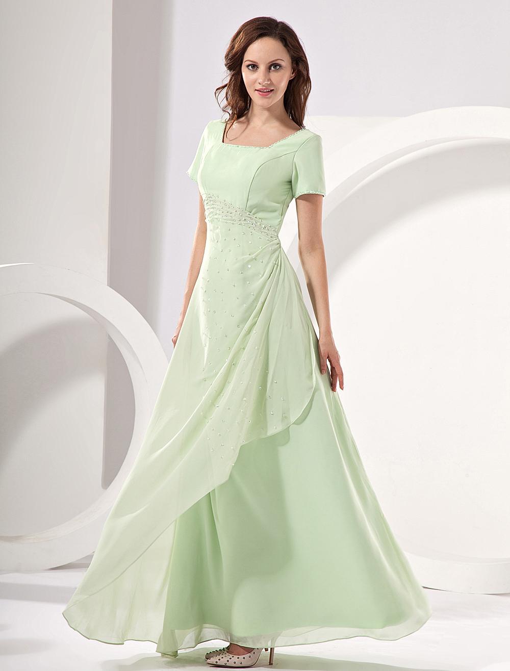 Chiffon Mother's Dress Pastel Green Sequin A Line Floor Length Prom Dress Wedding Guest Dress