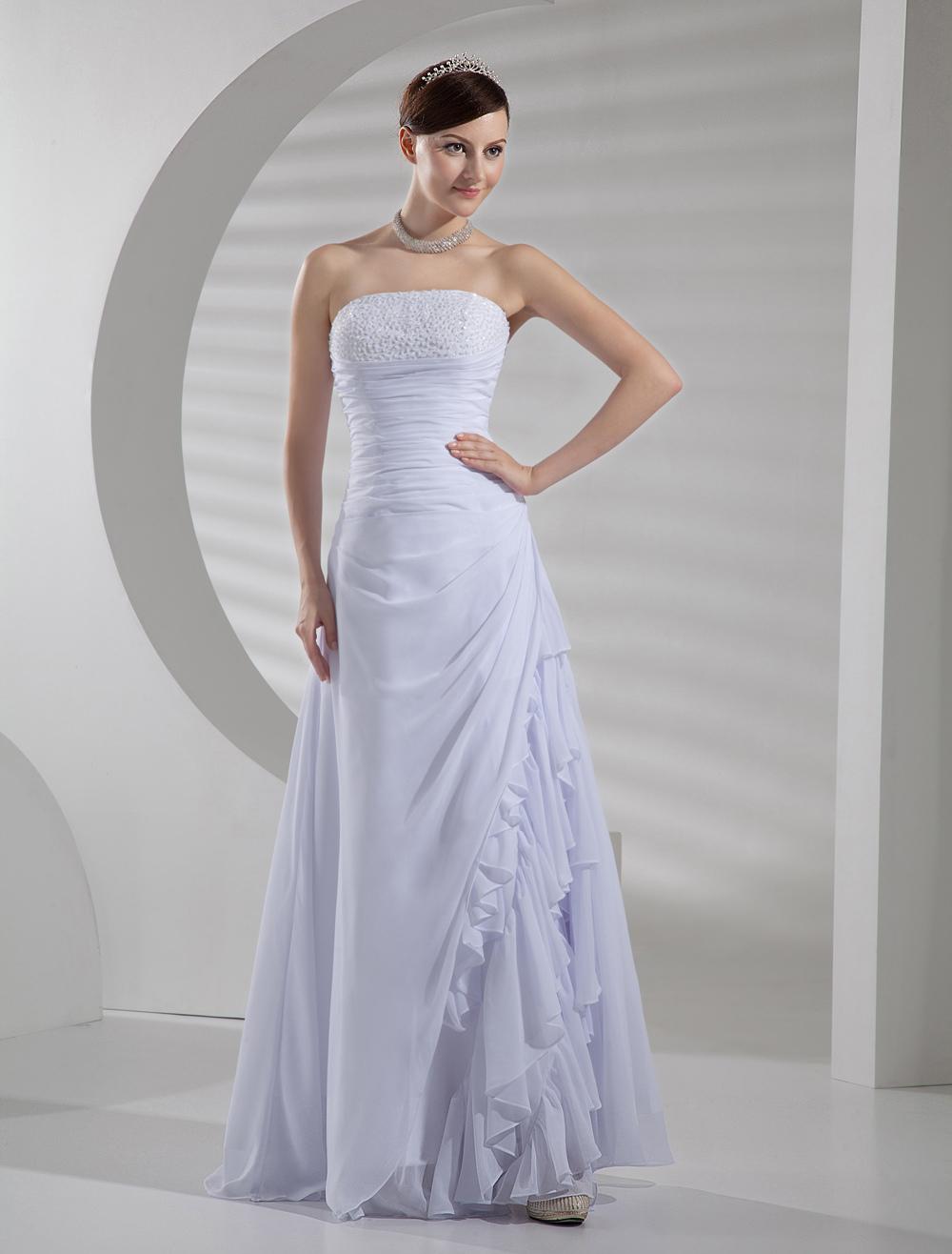 Chiffon A-line Wedding Dress Strapless Beaded Ruffles Side Lace Up Bridal Gown (Cheap Wedding Dress) photo