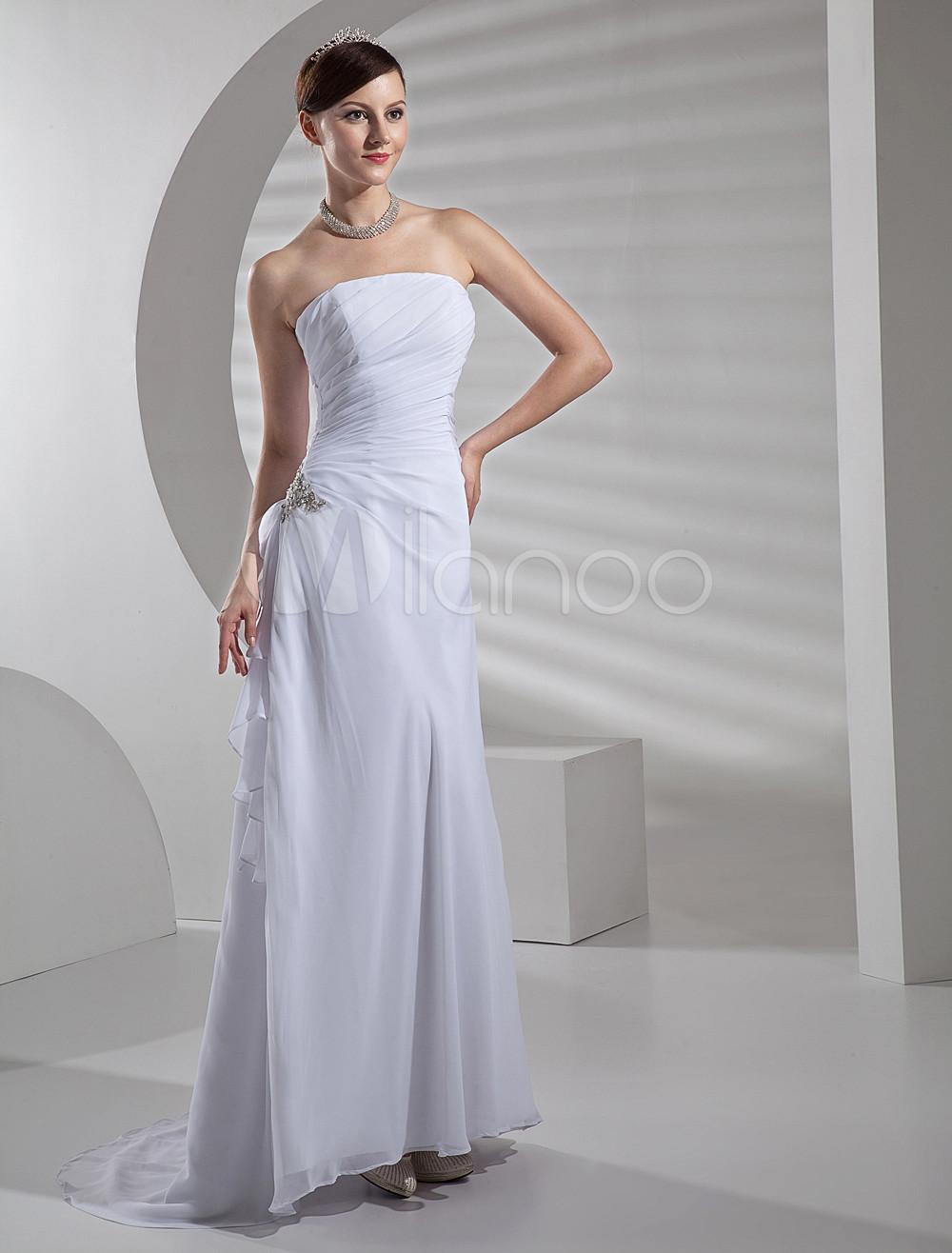 White Satin Chiffon A Line Wedding Dress
