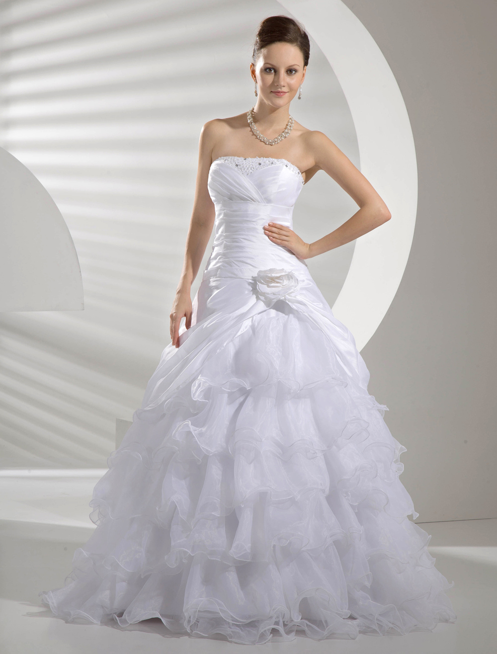 Used Wedding Dresses Under 100 Jewellery : White taffeta organza pick up organdie wedding dress milanoo