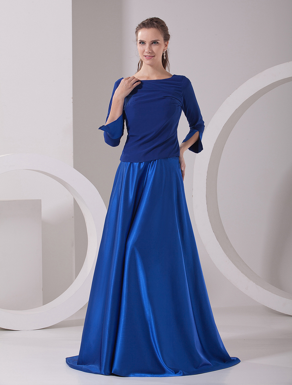 Charming Royal Blue A-line Bateau Neck Half Sleeves Zipper Elastic Woven Satin Fashion Dress For Mother of the Bride