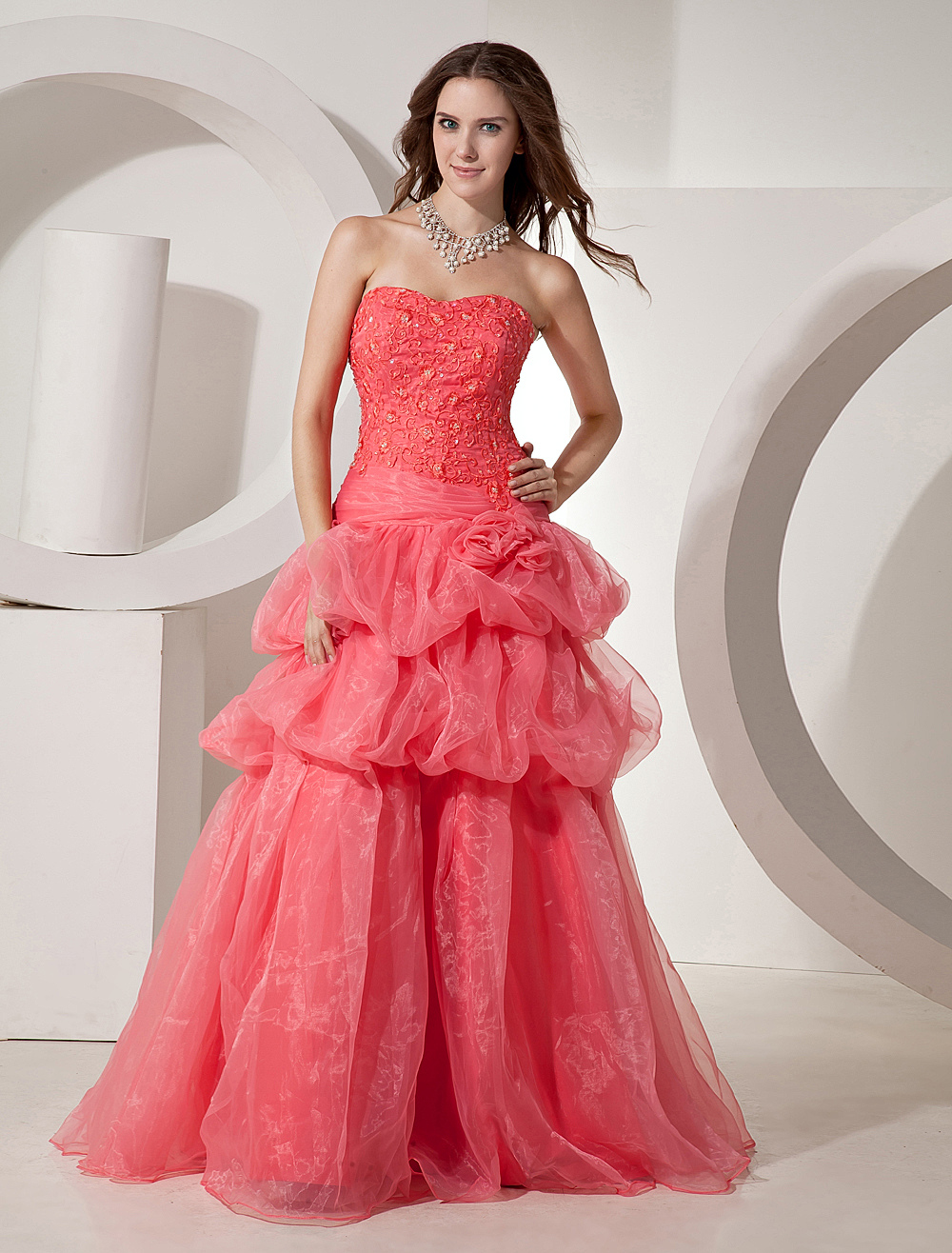 Watermelon Ball Gown Sweetheart Neck Quinceanera Dress $179.99 AT vintagedancer.com