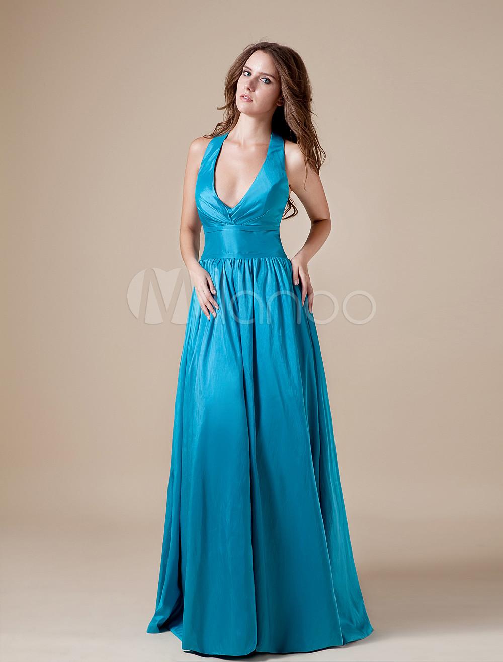 Vintage Blue Taffeta Halter Floor Length Bridesmaid Dress
