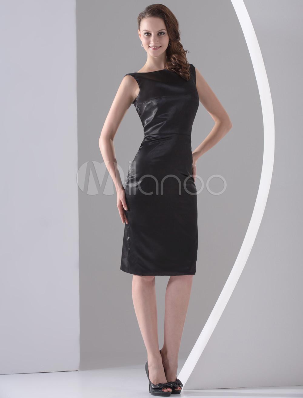 Vintage Black Silk-Like Cocktail Dress (Wedding Cheap Party Dress) photo