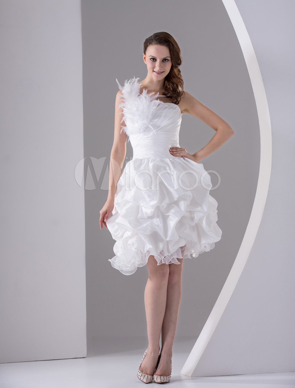 White A-line One-Shoulder Feather Taffeta Organza Prom Dress