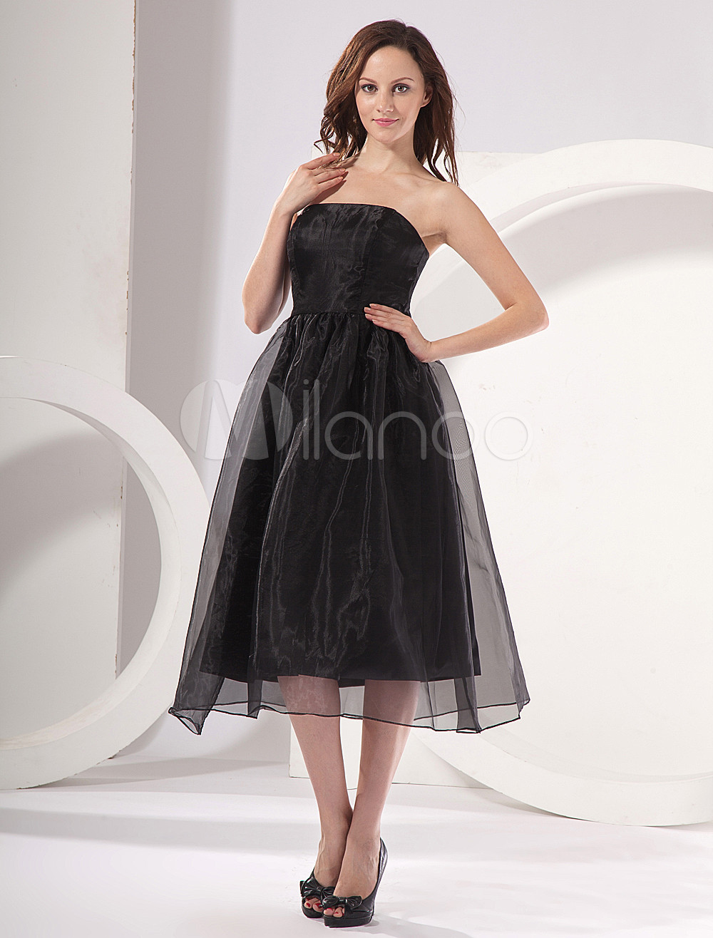 Black A-line Strapless Chiffon Tea Length Womens Maternity Bridesmaid Dress