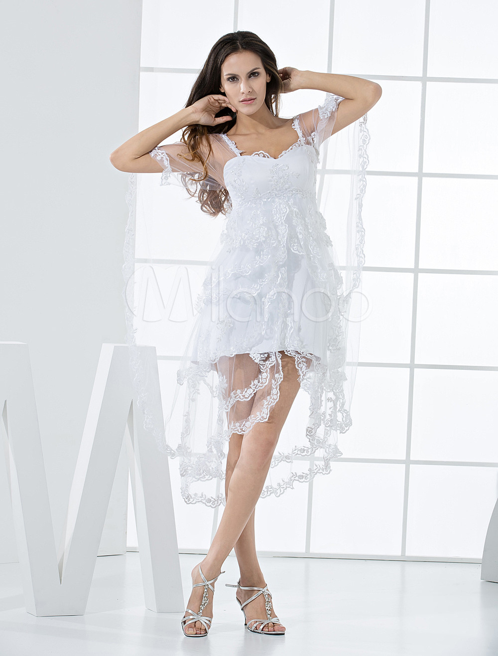 Charming White Lace Double Spaghetti Straps Calves Length Bridesmaid Dress